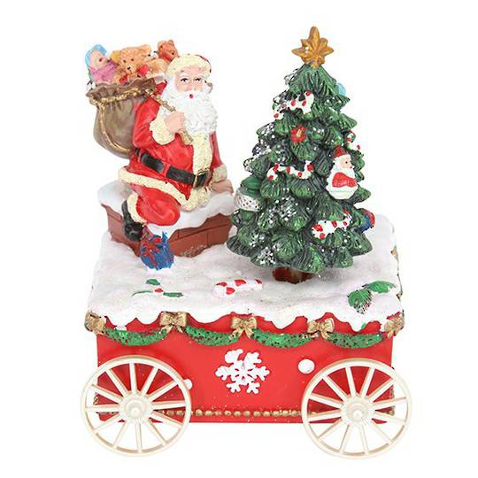 Santa & Tree on Cart, Music Box