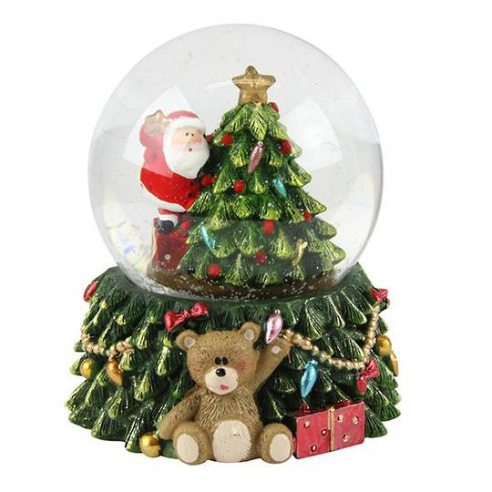 LED SnowGlobe Santa with Tree, with Teddy Bear Base