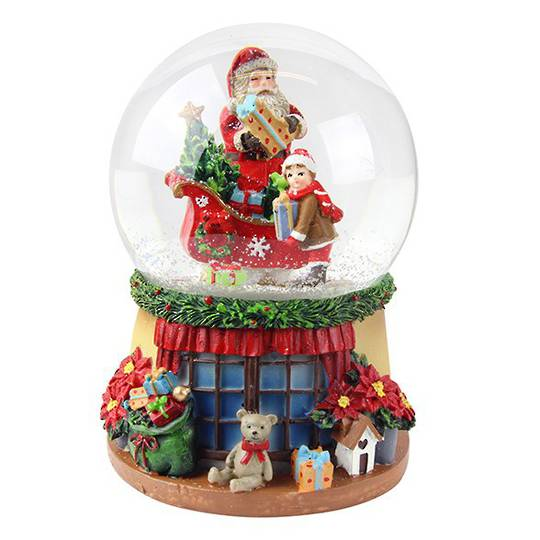 Musical SnowGlobe. Santa, Sleigh & Child, Window Sill Base