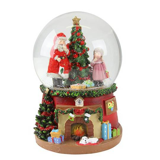 Musical SnowGlobe, Santa, Tree & Child, Fireplace Base