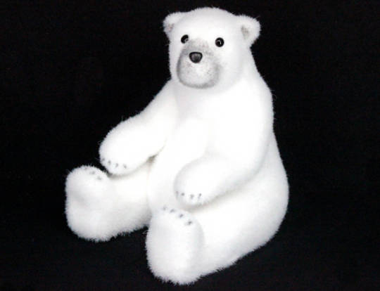 White Flocked Sitting Polar Bear Lge