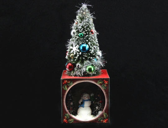 Vintage Light Up Box with Tree on Top