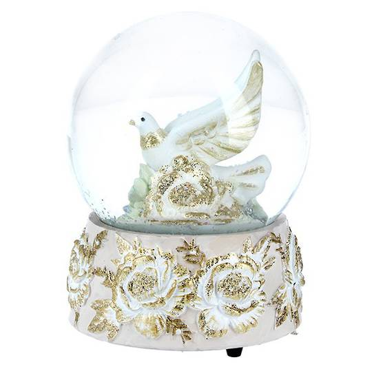 Musical Snow Globe, Cream and Gold Doves