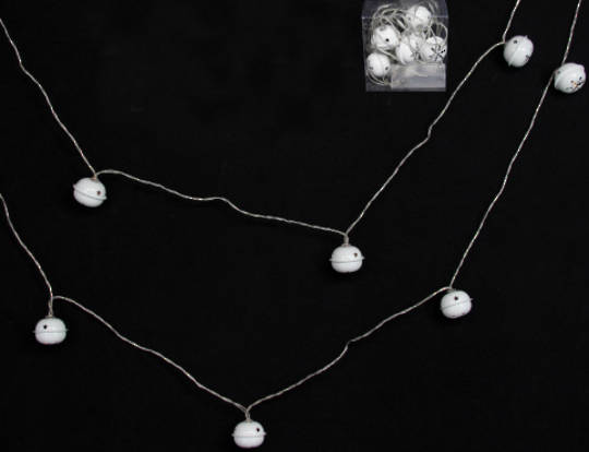 White Metal Jingle Bells 10 LED Lights 1.8 mtr