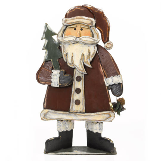 Wooden Santa with Bells and Fir Tree 84cm