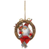 Christmas Wreath Santa w Red/Grey Outfit Sitting on Twig Wreath 40cm