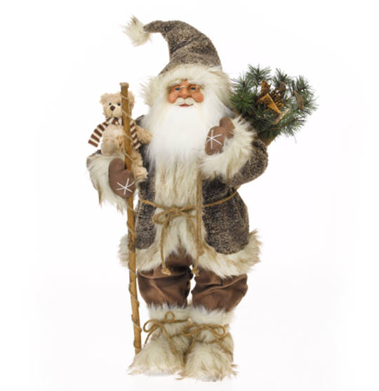 Santa Brown Coat, White Fur Trim w/Teddy