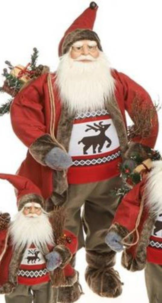 Santa 90cm Red Coat Reindeer Jumper LED Lights 3x AA Batt.