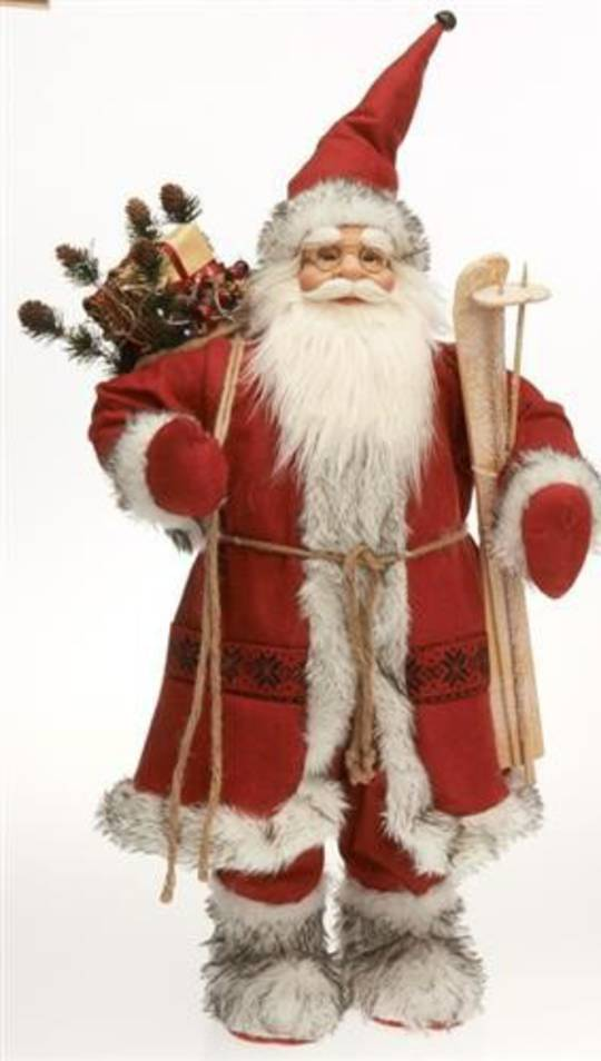 Santa 65cm Red/White Scandinavian w/Wooden Skis & Poles, LED Lights