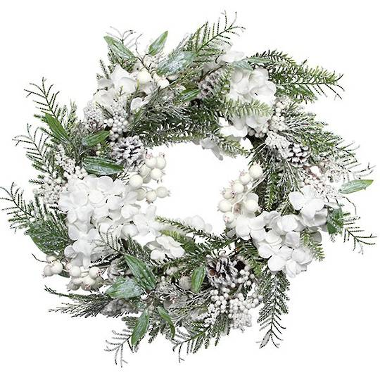 Wreath, Snowy Leaves, White Flowers & Berries