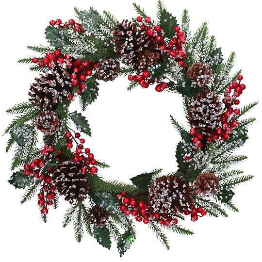 Icey Red Berry Pinecone Wreath 48cm