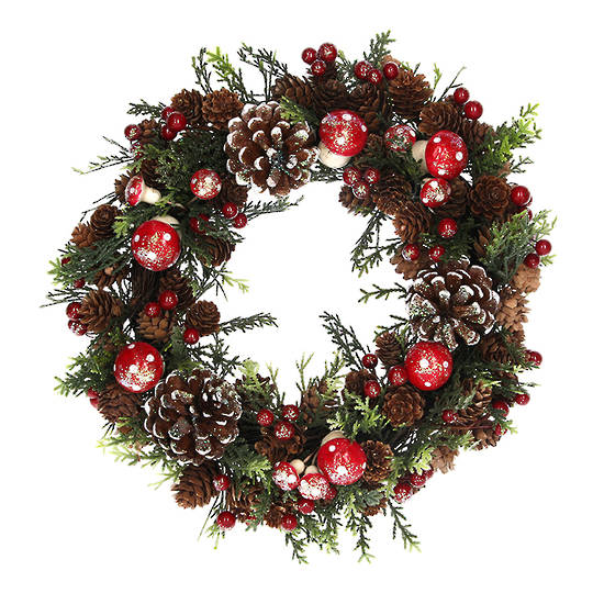 Pinecone and Toadstool Fir Wreath 33cm