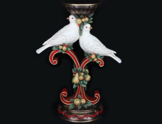 Pillar Candle Stand with Turtle Doves and Fruit