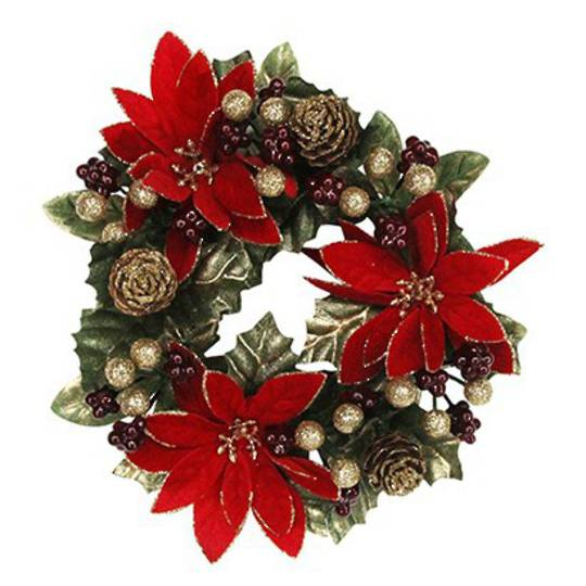Candle Ring Poinsettia with Leaf and Berries Lge