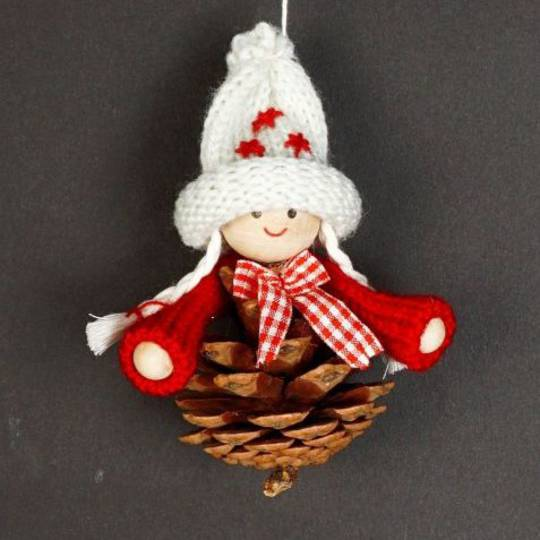 Hanging Scandi Pincone Child, White Knitted Hat