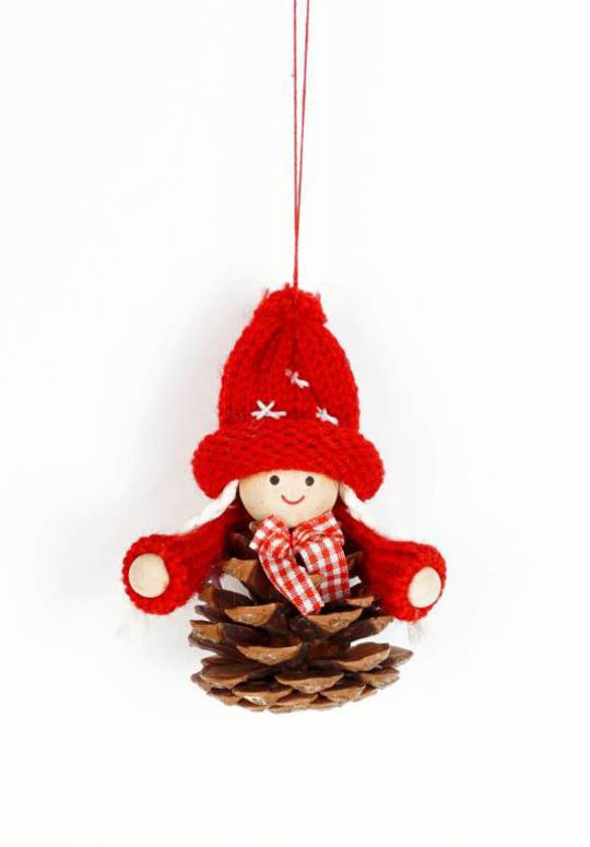 Hanging Scandi Pincone Child witn Knitted Hat