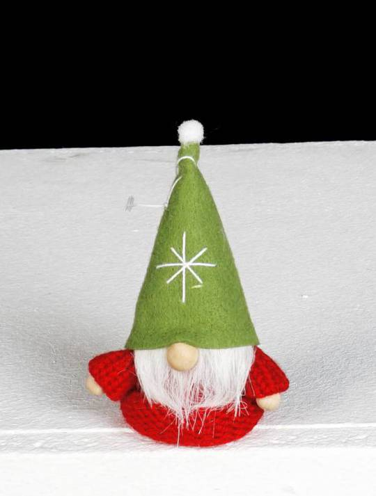 Hanging Red Knit Jumper, Green Hat Santa