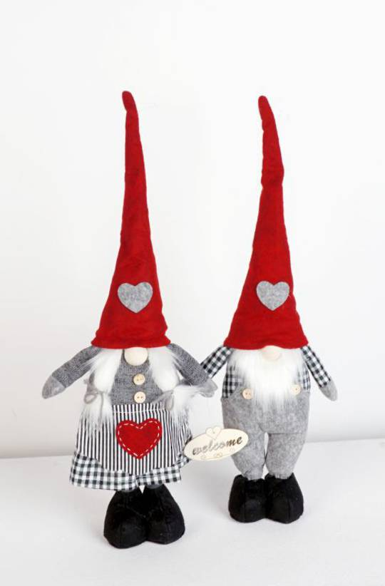 Plush Standing Gnome Black & White Check 50cm