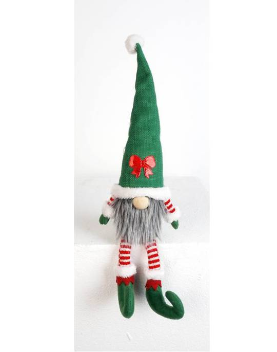 Sitting Elf Santa, Long Legs Green Hat