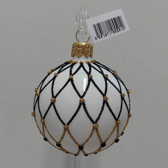 Glass Ball White with Black and Gold Lattice 6cm
