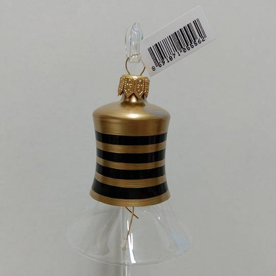 Glass Bell Clear with Black & Gold Stripes 8cm