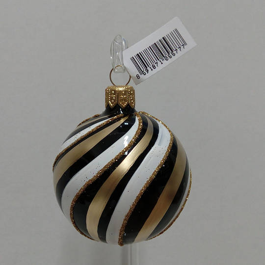 Glass Ball Black with Gold And White Spiral Pattern 6cm