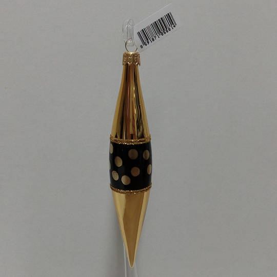 Glass Drop Gold with Black decor and Gold Dots