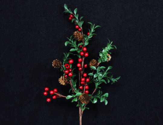 Red Berry / Green Leaf / Twig Branch 60cm