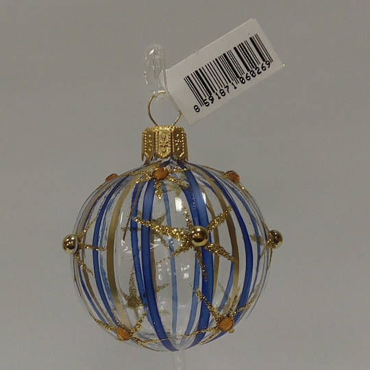 Glass Ball Clear with Blue and Matt Gold Stripes and Stars 5cm