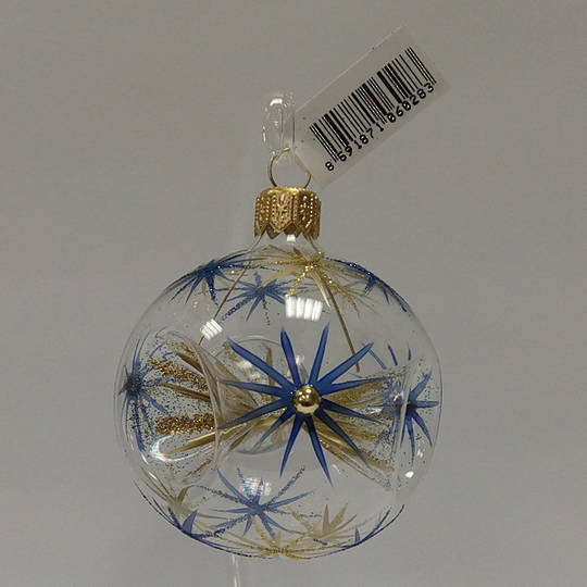 Glass Ball Clear with 3 Reflectors and Blue and Matt Gold Stars and Stones 6cm