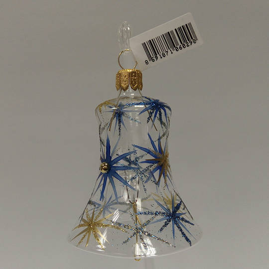 Glass Bell Clear with Blue and Matt Gold Stars and Stones 8cm