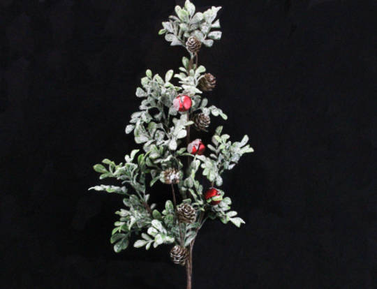 Frosted Leaf and Cone Branch with Red Bells SOLD OUT