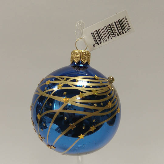 Glass Ball Metallic Blue with Matt Gold Stripes and Stars 6cm