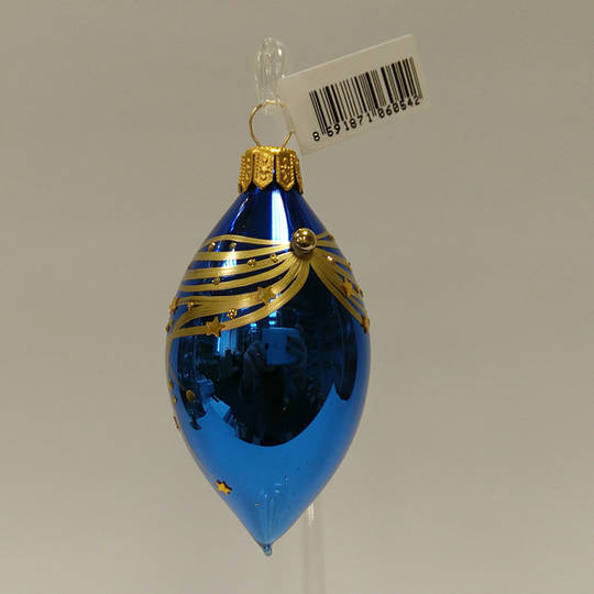 Glass Olive Metallic Blue with Gold Stripes And Stars 8cm