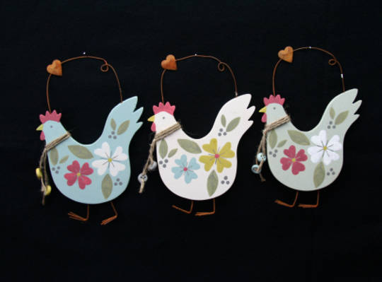 Wood Painted Hen Hanging Decoration 12cm