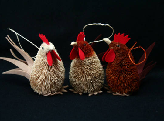 Bristle Hen Hanging Decoration 12cm