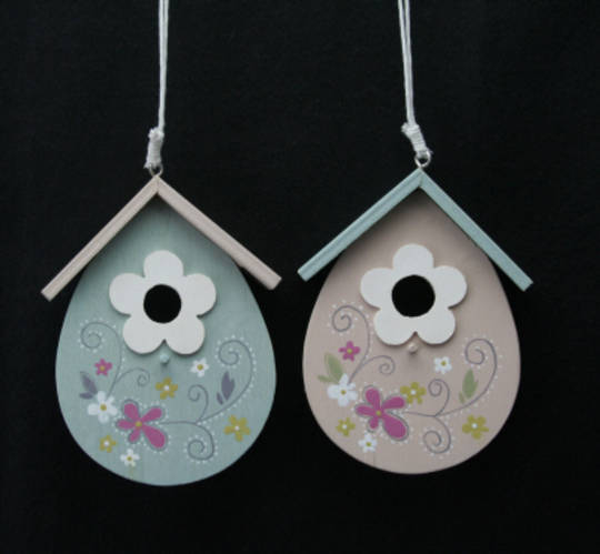 Wood Painted BirdHouse Hanging Decoration 11cm