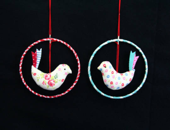 Fabric Bird Ring Hanging Decoration 10cm