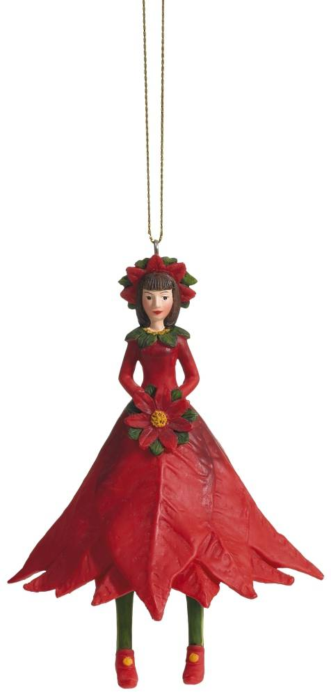 Hanging Flower Girl Poinsettia Bud Red 11cm SOLD OUT