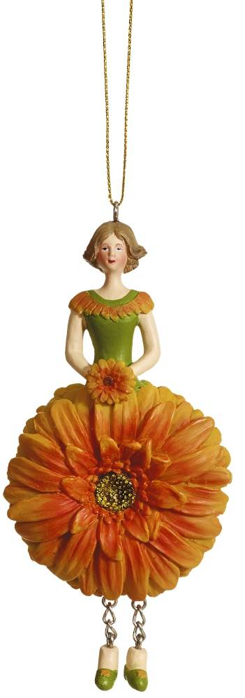 Hanging Flower Girl Gerbera Orange 12cm