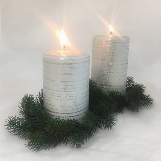 Metallic White with Silver Glitter Candle