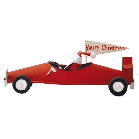 Santa in Red Racing Car