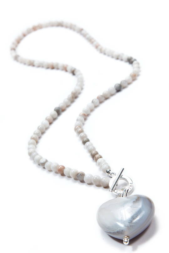 Necklace, Natural Cream Agate with Agate Heart