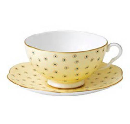 Wedgwood Polka Dot Cup and Saucer, Yellow