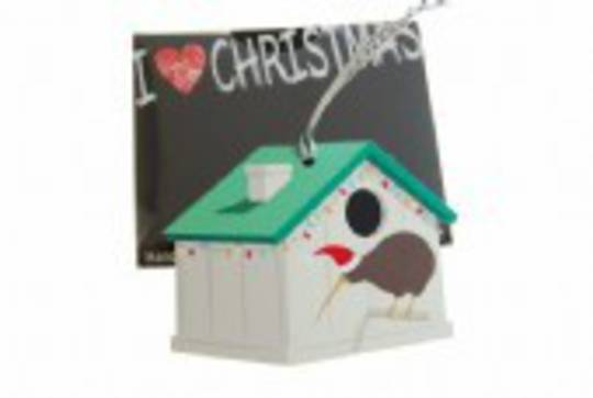 Hanging I Love Christmas NZ Kiwi Bird House