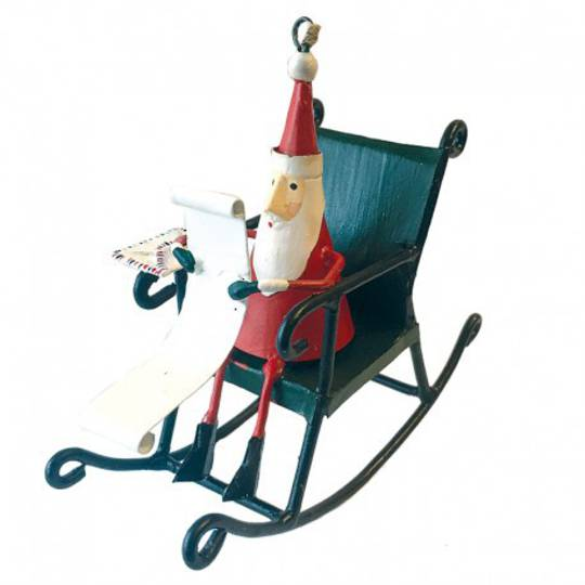 Tin Santa on Rocking Chair