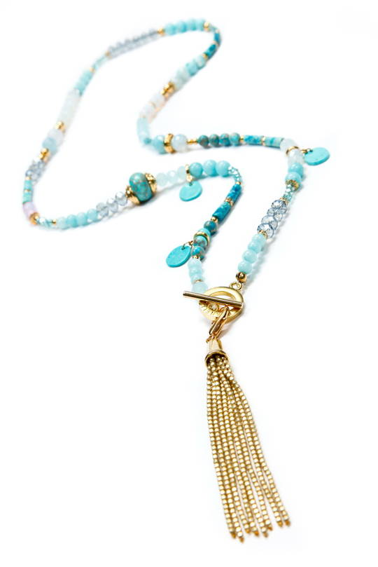 Necklace, Turquiose Howlite, Quartz and Crystal with Gold Tassel