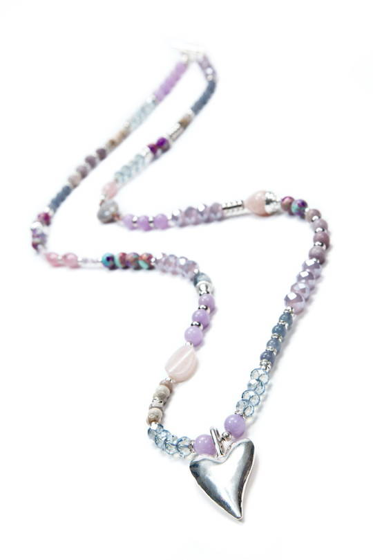 Necklace, Agate, Purple Howlite, Quartz, Pink and Grey Tones with Silver Heart