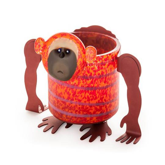 Artglass Chaco Monkey Planter. Red/Orange