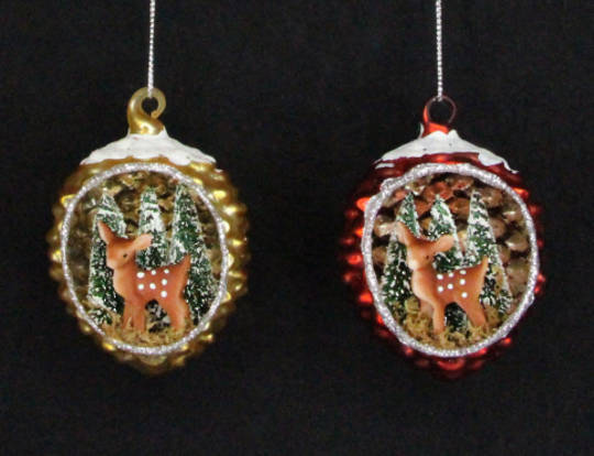 Glass Pinecone with Reindeer Scene Red or Gold